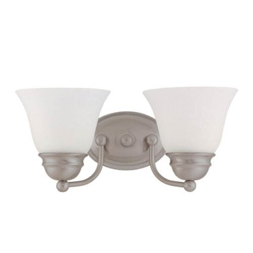 Nuvo Lighting Empire Brushed Nickel Two-Light Bath Fixture with Frosted White Glass