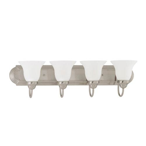 Nuvo Lighting Ballerina Brushed Nickel Four-Light Bath Fixture with Frosted White Glass