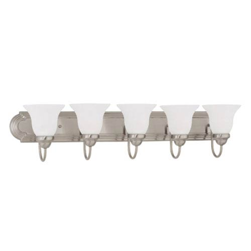Nuvo Lighting Ballerina Brushed Nickel Five-Light Bath Fixture with Frosted White Glass