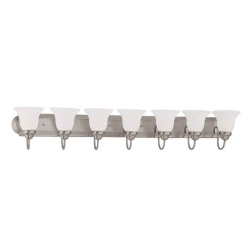 Ballerina Brushed Nickel Seven-Light Bath Fixture with Frosted White Glass