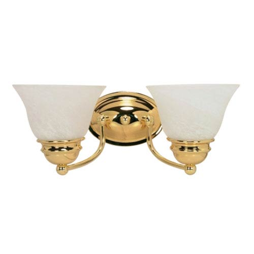 Nuvo Lighting Empire Polished Brass Two-Light Bath Fixture with Alabaster Glass