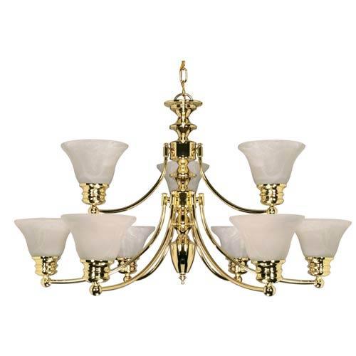 Empire Polished Brass Nine-Light Chandelier