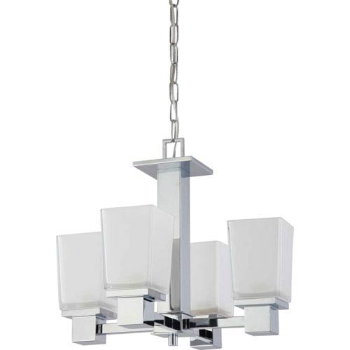 Parker Polished Chrome Four-Light Chandelier with Sandstone Etched Glass