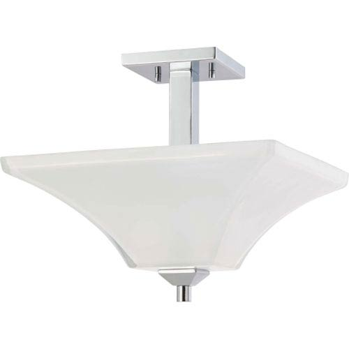 Nuvo Lighting Parker Polished Chrome Two-Light Semi Flush Mount with Sandstone Etched Glass