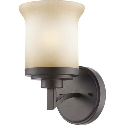 Nuvo Lighting Harmony Dark Chocolate Bronze One-Light Bath Fixture with Saffron Glass