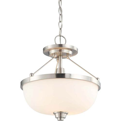 Nuvo Lighting Helium Brushed Nickel Two-Light Semi Flush Mount with Satin White Glass