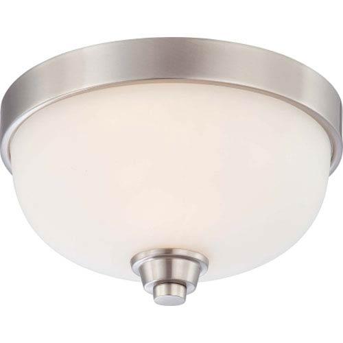 Nuvo Lighting Helium Brushed Nickel One-Light Flush Mount with Satin White Glass