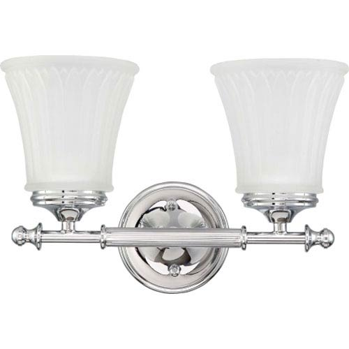 Teller Polished Chrome Two-Light Bath Fixture with Frosted Etched Glass