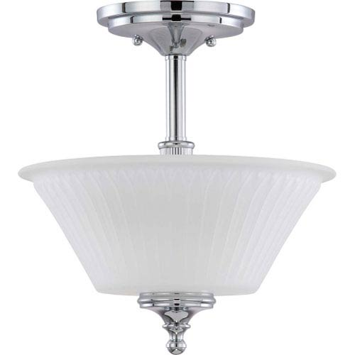 Teller Polished Chrome Two-Light Semi Flush Mount with Frosted Etched Glass