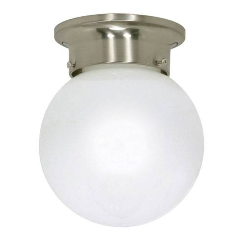 Nuvo Lighting Brushed Nickel One-Light Energy Star Flush Mount with White Ball Glass