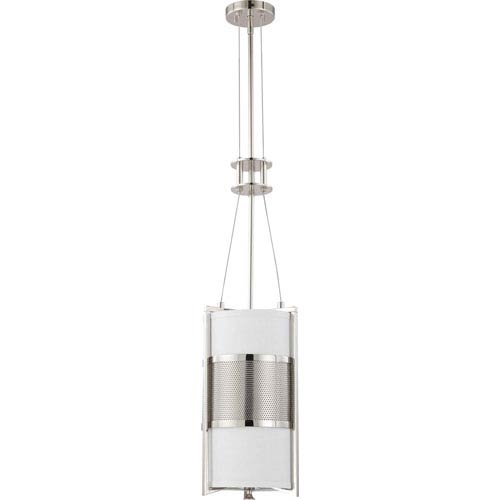 Diesel Polished Nickel One-Light Pendant with Slate Gray Fabric Shade