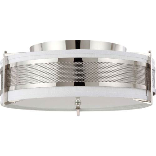 Diesel Polished Nickel Four-Light Flush Mount with Slate Gray Fabric Shade