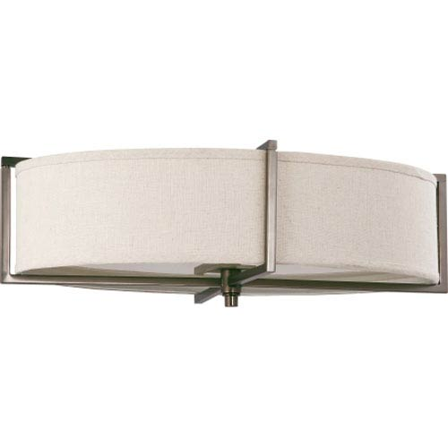 Nuvo Lighting Portia Hazel Bronze Six-Light Flush Mount with Khaki Fabric Shade