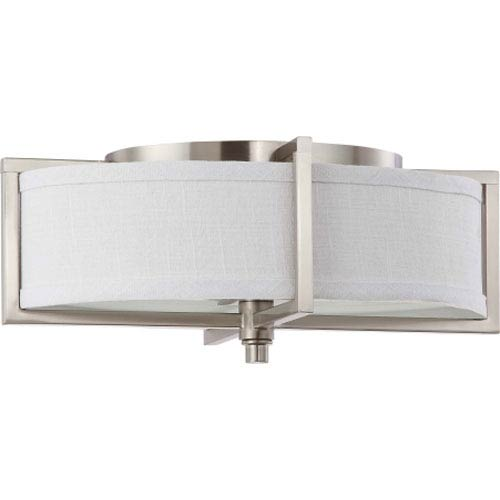 Portia Brushed Nickel Two-Light Flush Mount with Slate Gray Fabric Shade