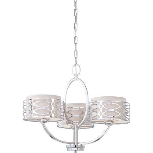 Nuvo Lighting Harlow Polished Nickel Three Light Chandelier W Slate Gray Fabric Shades