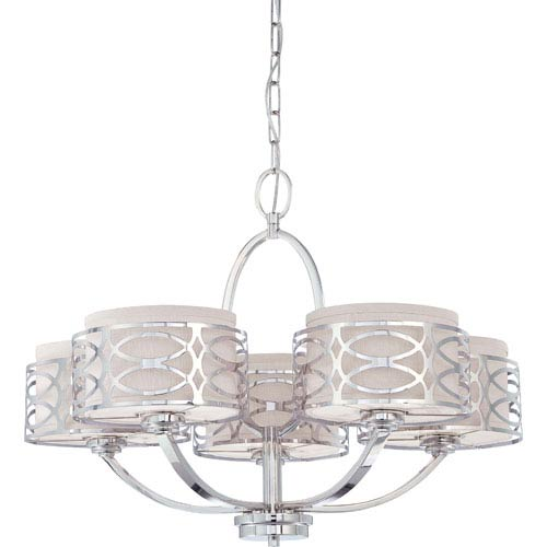 Nuvo Lighting Harlow Polished Nickel Five Light Chandelier W Slate Gray Fabric Shades
