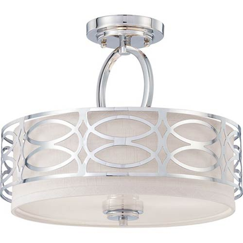 Nuvo Lighting Harlow Polished Nickel Three Light Semi Flush Fixture W Slate Gray Fabric Shade