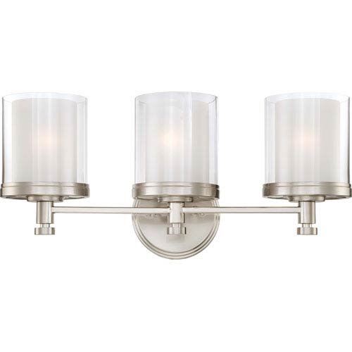Decker Brushed Nickel Three-Light Vanity Fixture w/Clear & Frosted Glass
