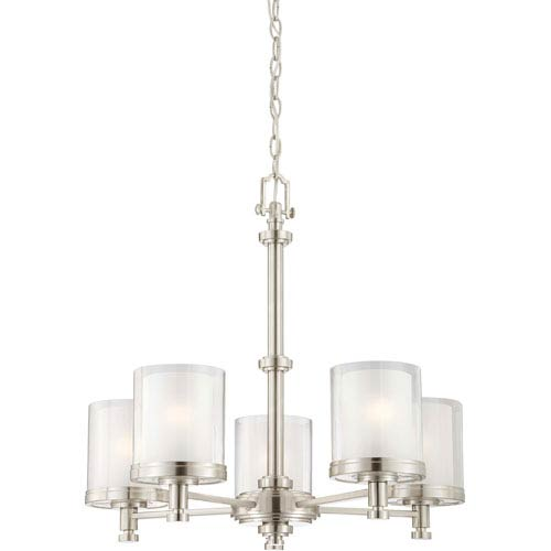 Nuvo Lighting Decker Brushed Nickel Five-Light Chandelier w/Clear & Frosted Glass