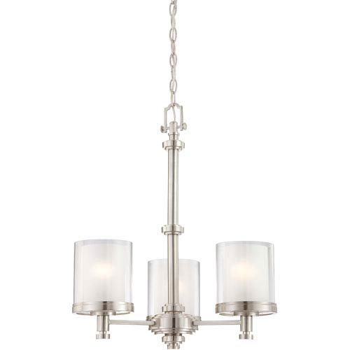 Nuvo Lighting Decker Brushed Nickel Three-Light Chandelier w/Clear & Frosted Glass