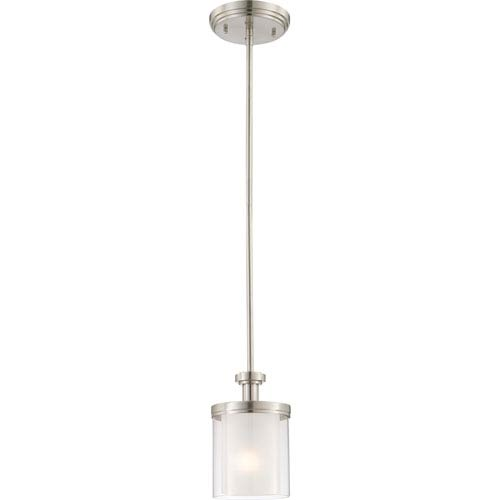 Nuvo Lighting Decker Brushed Nickel Mini Pendant w/Clear & Frosted Glass