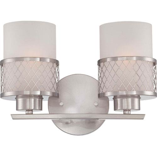 Nuvo Lighting Fusion Brushed Nickel Two-Light Vanity Fixture w/Frosted Glass