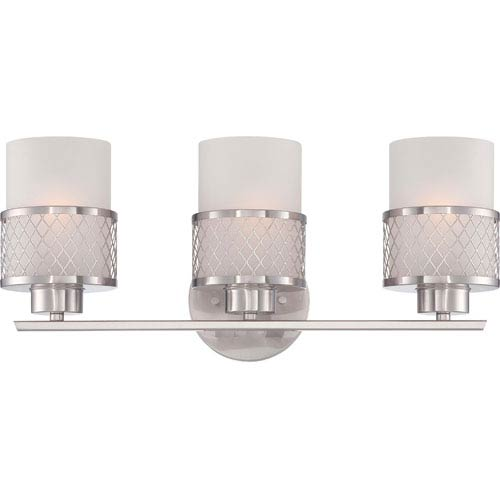 Nuvo Lighting Fusion Brushed Nickel Three-Light Vanity Fixture w/Frosted Glass