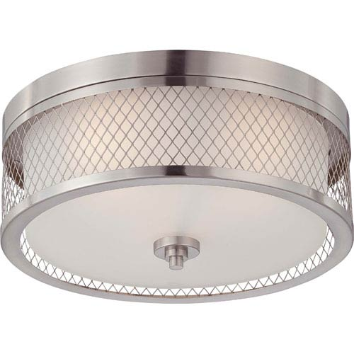Fusion Brushed Nickel Three-Light Flush Dome Fixture w/Frosted Glass