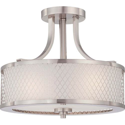 Fusion Brushed Nickel Three-Light Semi Flush Fixture w/Frosted Glass