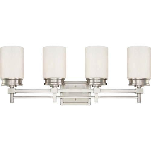 Wright Brushed Nickel Four-Light Vanity Fixture w/Satin White Glass
