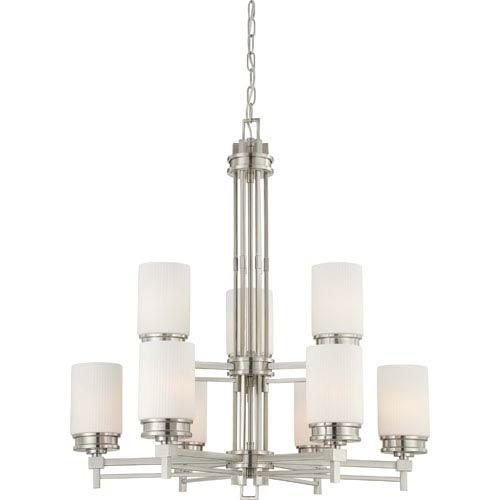 Wright Brushed Nickel Nine-Light Chandelier w/Satin White Glass