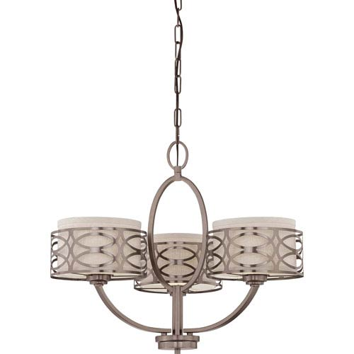 Nuvo Lighting Harlow Hazel Bronze Three Light Chandelier W Khaki Fabric Shades