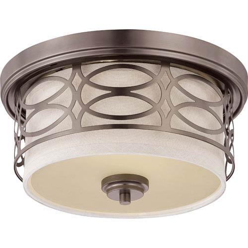 Nuvo Lighting Harlow Hazel Bronze Two-Light Flush Dome Fixture w/Khaki Fabric Shade