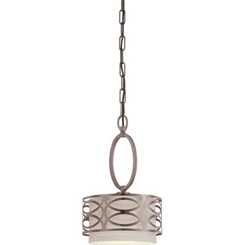 Nuvo Lighting Harlow Hazel Bronze Mini Pendant w/Khaki Fabric Shade
