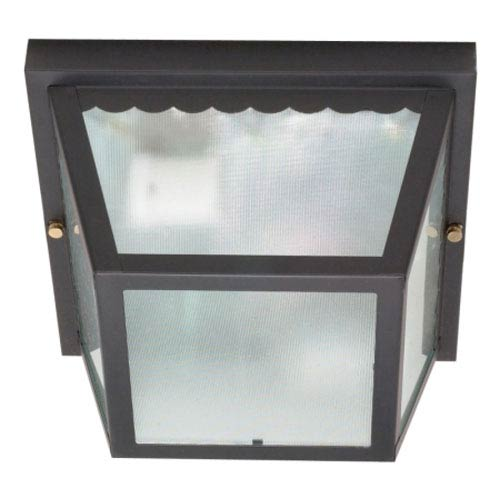 Nuvo Lighting Black Two-Light Outdoor Flush Mount with Texture Frosted Glass