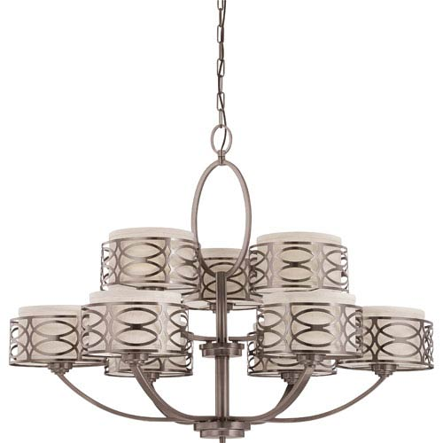 Nuvo Lighting Harlow Hazel Bronze Nine-Light Chandelier w/Khaki Fabric Shades