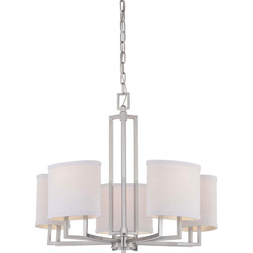 Gemini Brushed Nickel Five-Light Chandelier w/Slate Gray Fabric Shades