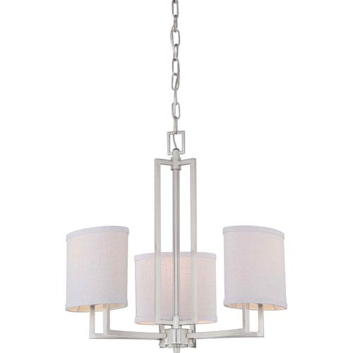 Nuvo Lighting Gemini Brushed Nickel Three-Light Chandelier w/Slate Gray Fabric Shades