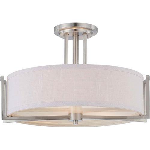 Gemini Brushed Nickel Three-Light Semi Flush Fixture w/Slate Gray Fabric Shade