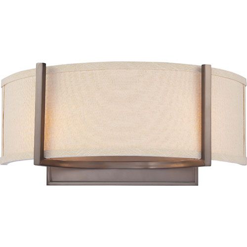 Gemini Hazel Bronze Two-Light Wall Sconce with Khaki Fabric Shade