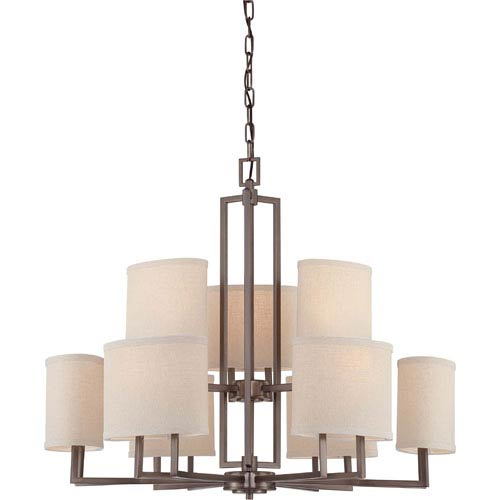 Gemini Hazel Bronze Nine-Light Chandelier w/Khaki Fabric Shades