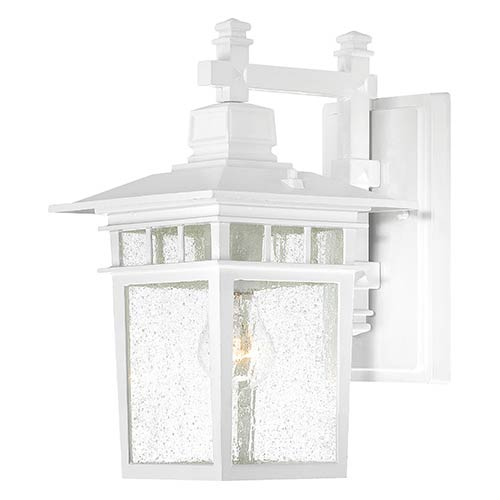 Cove Neck White One Light 14 Inch High Outdoor Wall Lantern With Clear Seeded