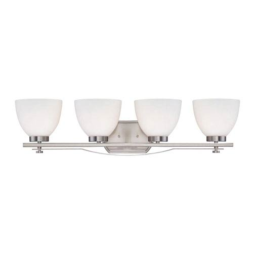 Nuvo Lighting Bentlley Brushed Nickel Four-Light Vanity Fixture w/ Frosted Glass Shades
