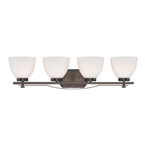 Nuvo Lighting Bentlley Hazel Bronze Four-Light Vanity Fixture w/ Frosted Glass Shades