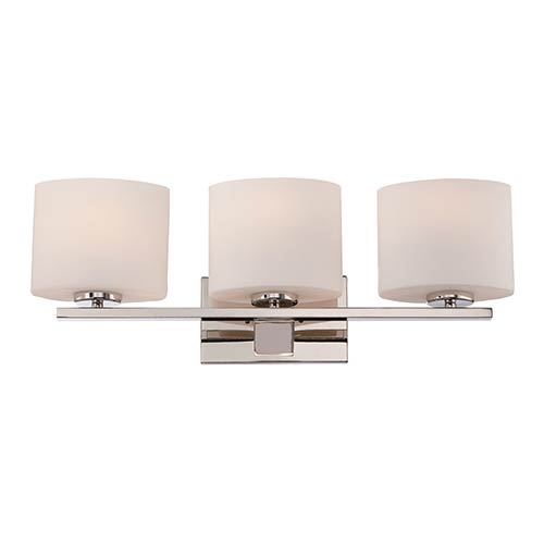 Nuvo Lighting Breeze Polished Nickel Three-Light Bath Vanity with Etched Opal Glass