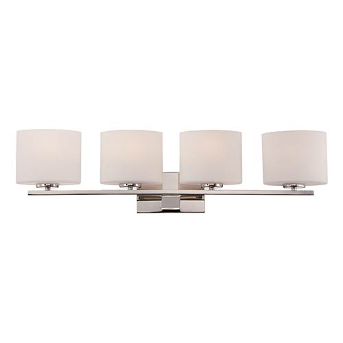 Nuvo Lighting Breeze Polished Nickel Four-Light Bath Vanity with Etched Opal Glass