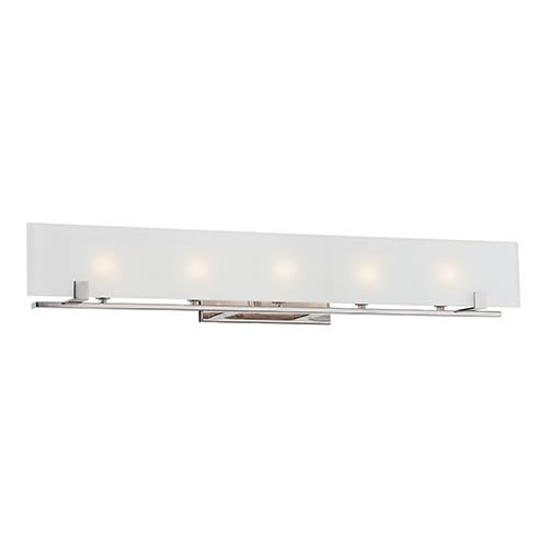 Nuvo Lighting Lynne Polished Nickel Five-Light Bath Vanity with Frosted Glass