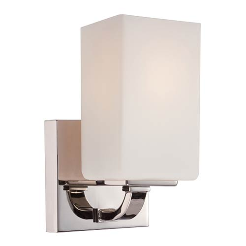 Nuvo Lighting Vista Polished Nickel One-Light Bath Vanity with Etched Opal Glass