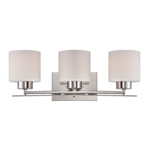 Parallel Polished Nickel Three Light Vanity Fixture with Etched Opal Glass
