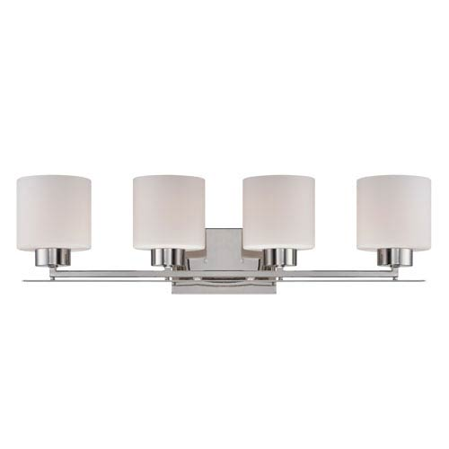 Parallel Polished Nickel Four Light Vanity Fixture with Etched Opal Glass